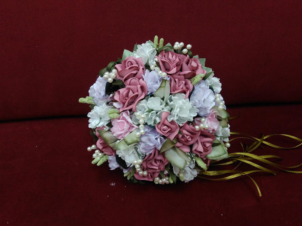 Свадебный букет-дублер темно-розовый с айвори и сиреневым