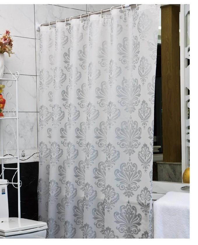 """Штора для ванної з кільцями """"білий Візерунок"""" точний розмір 180x200 см, код 20438"""
