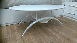 Журнальный стол A1002-1, Exm стекло белый глянец,ножки белые, фото 3