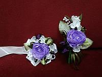 Свадебные бутоньерки (на пиджак и на руку) из пион сиреневые