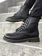 Мужские ботинки Dr. Martens на меху с полупрозрачной подошвой черные топ  реплика 53bebcf326de4