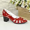 Красные лаковые босоножки женские на каблуке, фото 2