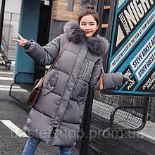 Теплий,довгий жіночий пуховик з капюшоном, розмір M