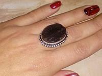 Кольцо черный турмалин шерл. Кольцо с черным турмалином в серебре. Размер 19. Индия, фото 1