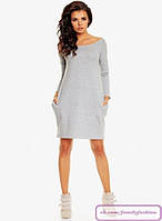 Платье свободное с карманами, длинный рукав ,ткань джерси. 3 цвета(р 42-46)