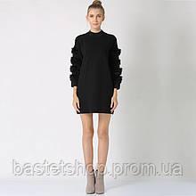 Идеальный удлинённый женский пуловер с мехом на рукавах, one size