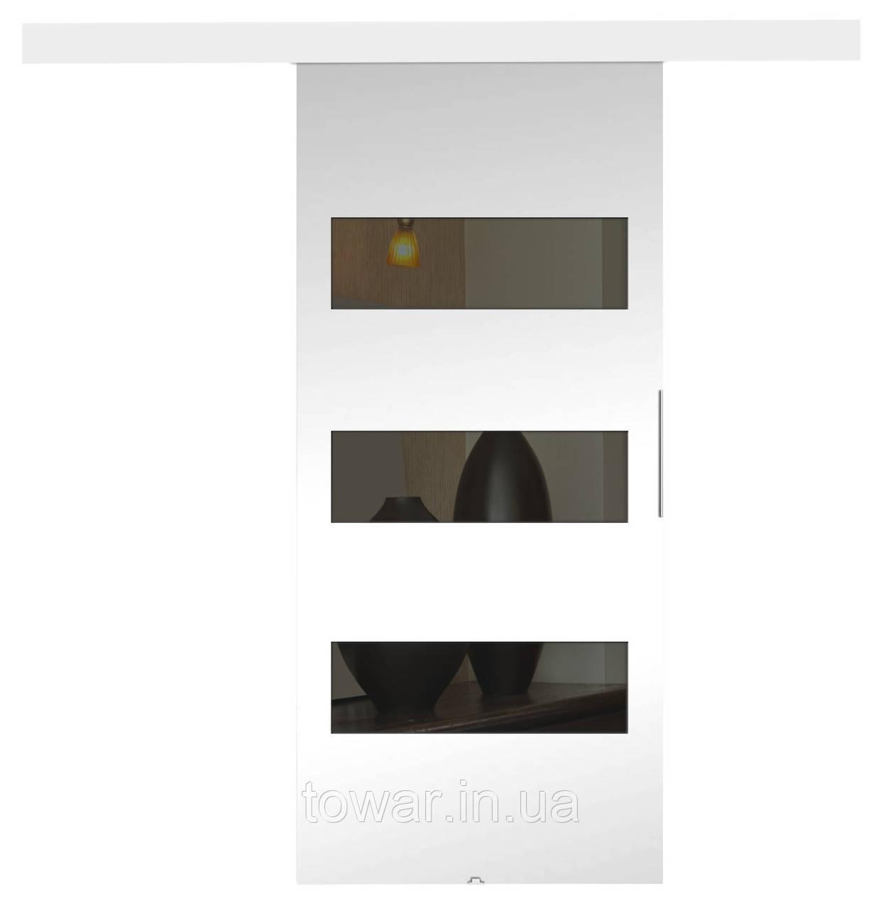"""Двери настенные раздвижные левые / правые модель: """"ТОП 2"""" цвет БЕЛЫЙ"""