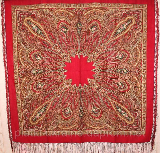 "Платок шерстяной с шелковой бахромой ""Самарканд"", 125х125 см, рис. 998-5"