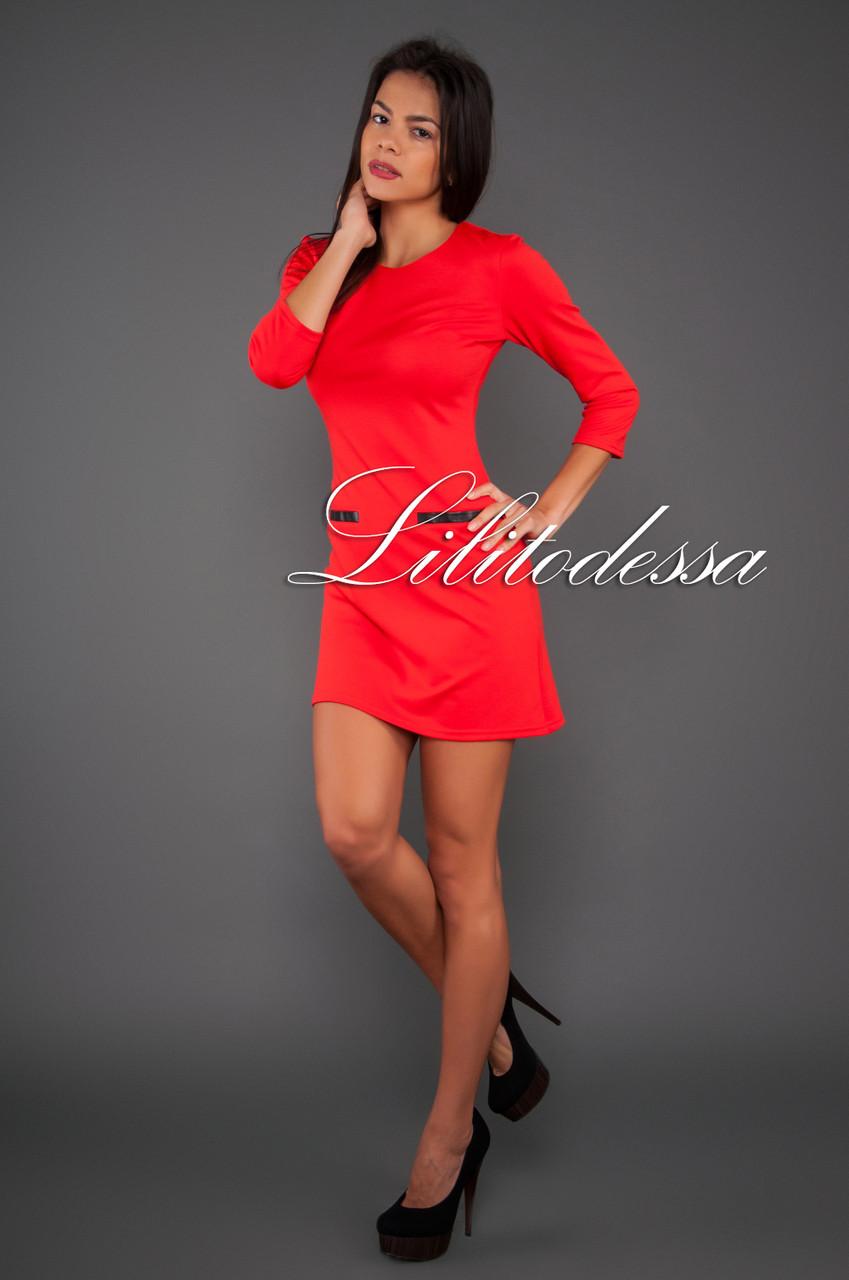 Трикотажное платье с открытой молнией красный