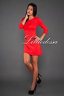 Трикотажное платье с открытой молнией красный, фото 1
