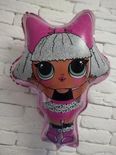 Фольгированный шар фигура Кукла Лол на розовом   70х49
