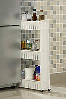 Стеллаж для хранения тележки Orolay Kitchen, компактный, на 3 колесах (белый)