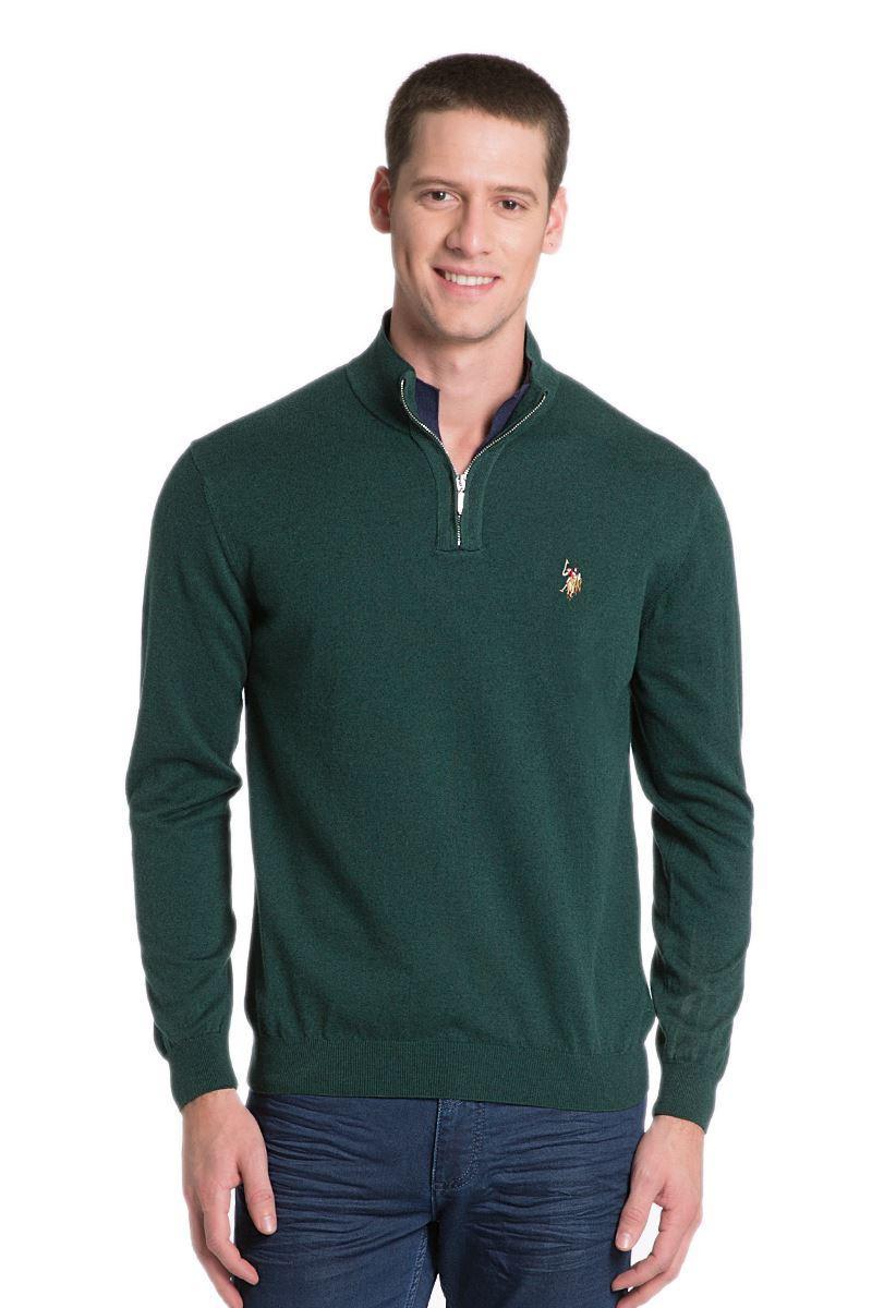 Мужской свитер зеленый U.S. Polo Assn. с воротником-стойкой. Оригинал с голограммой. размер S