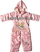 Детский демисезонный костюм рост 68 (3-6 мес.) утеплённый двойка с капюшоном (весна/осень) розовый на девочку для новорожденных ТН-145