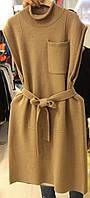 Интересное женское вязаное платье без рукавов с поясом