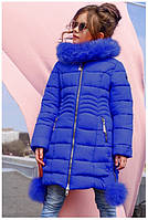 Пальто детское Кина 2 c  натуральным мехом -ТМ Nui Very Размер 116 122