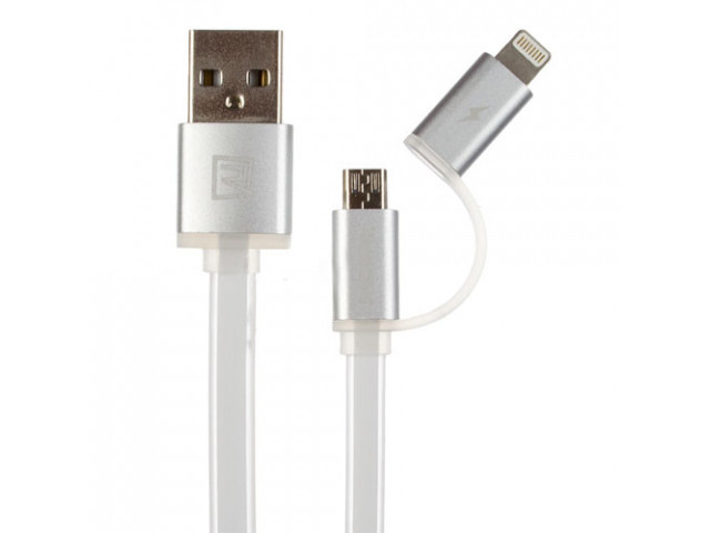 Купить Кабели для электроники, Combo 2-in-1 кабель Lightning/micro USB, 1м white Aurora Combo Remax 300705