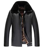 Куртка зимняя кожаная,дубленка мужская  на овчине.