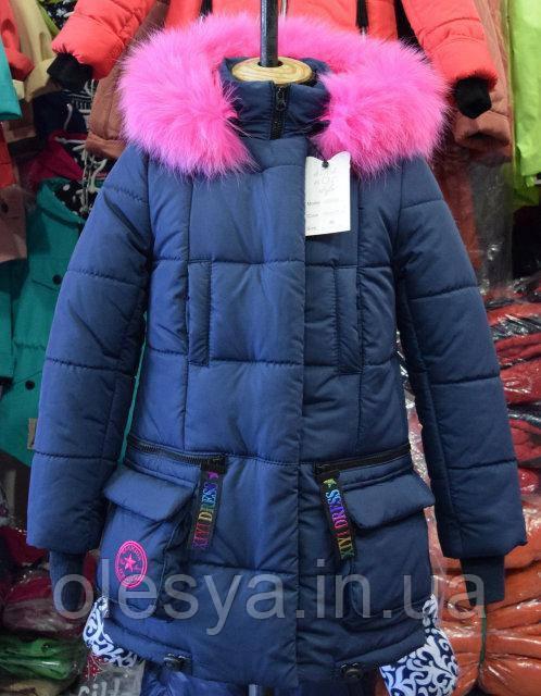 Зимнее пальто на девочку Звезда Размер 40 Новинка! Синий+ малина
