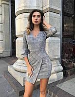 Асимметричное женское платье в клетку, короткое
