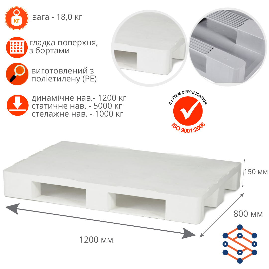 Гигиенический пластиковий поддон SPK80120К сплошной белый 1200x800x153 мм