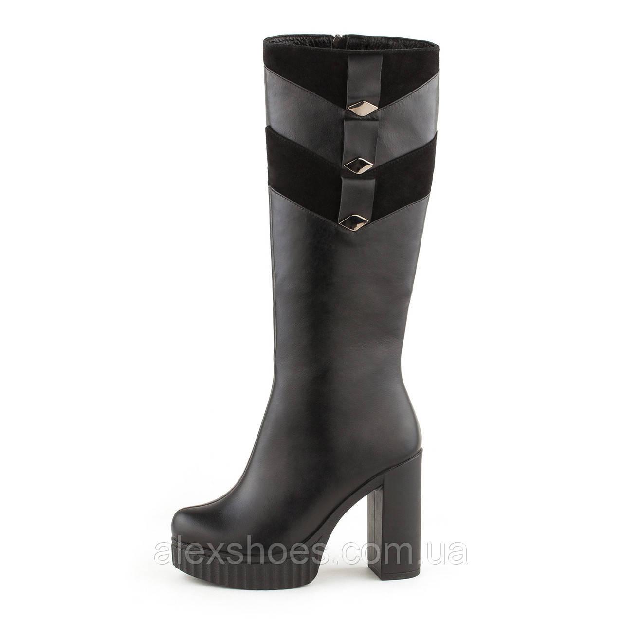 Сапоги женские демисезонные на высоком устойчивом каблуке из натуральной кожи от производителя модель ОУ86818