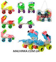Ролики арт  0053 квадровые,раздв,бакл+шнур,стель16 см(+2,5см),колеса 4,5 см в сумке,розовые