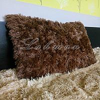 Чехол для подушки травка  50х70 см.   Декоративные пушистые наволочки для интерьера, цвет шоколадный