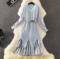 Женское платье-свитер с плиссированной бархатной юбкой