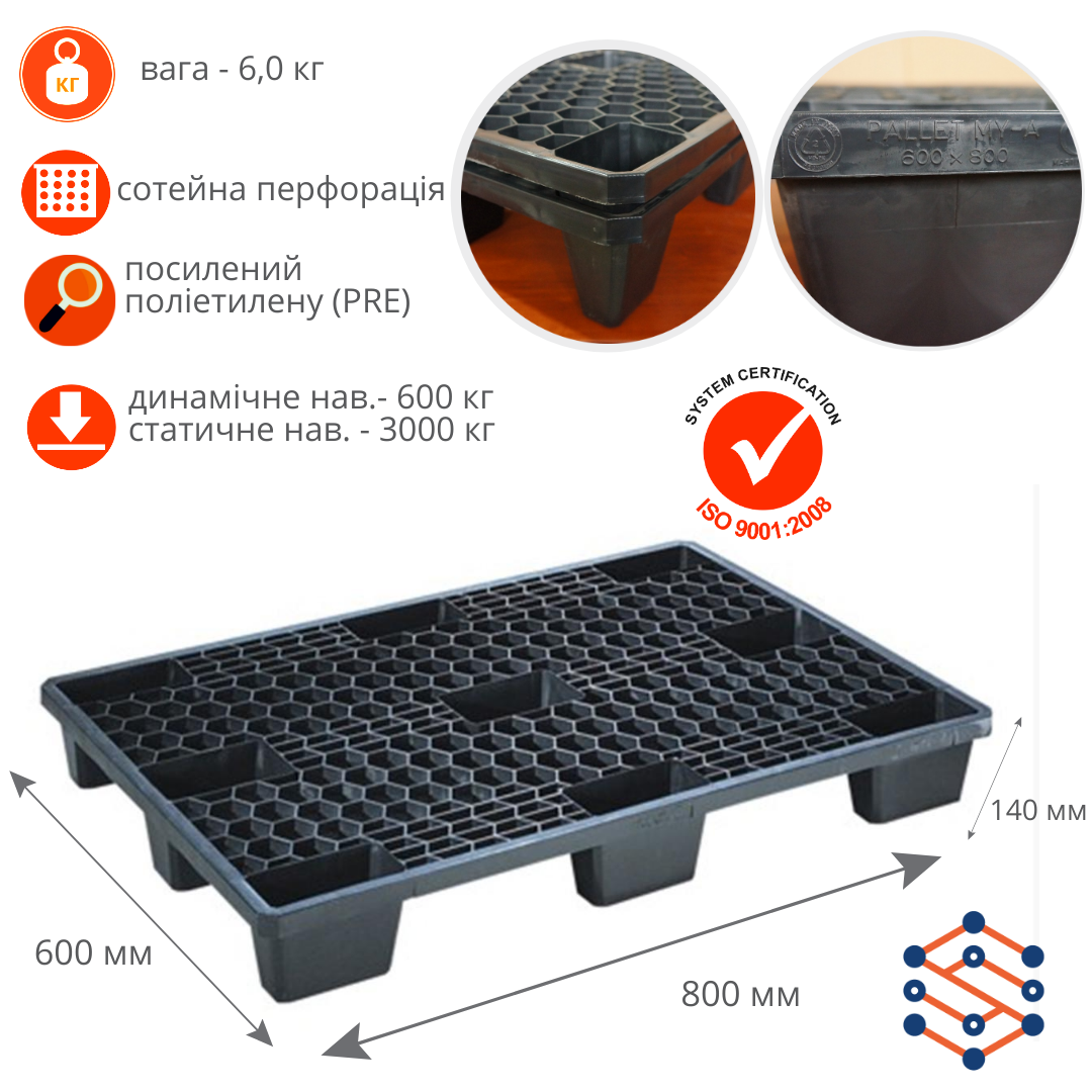 Пластиковый поддон с сотейной перфорацией 600х800х140 мм