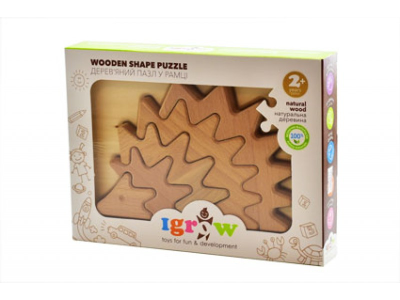 Пазл дерев'яний в рамці Їжачок непокрашенный Pazl3
