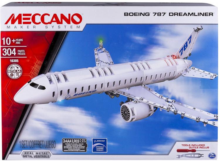 Конструктор металлический Meccano Boeing 6028402, для младшего школьного возраста, 304 детали и инструменты