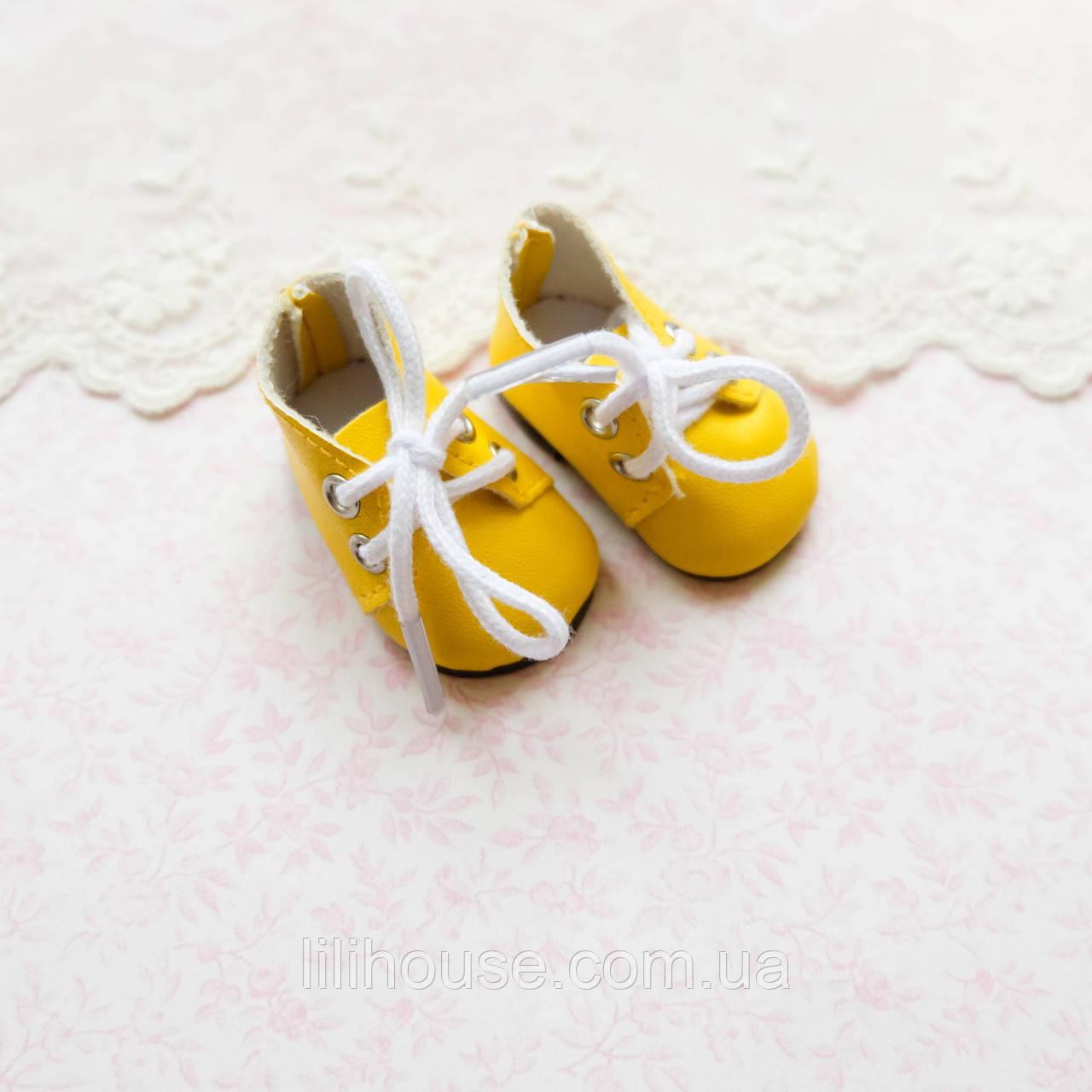 Обувь для кукол Ботиночки на Шнуровке 5*2.5 см ЖЕЛТЫЕ