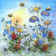 Редкая салфетка декупажная Полевые цветы на голубом фоне 2376