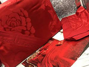 Постельное белье, комплект Евро размер хлопок сатин жаккард красный
