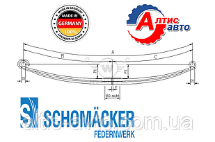 Рессора Volvo FH12, 16, FM7, 9, 10, 12 Шумахер усилиная