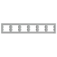 Рамка шестимісна, горизонтальна, Schneider Electric Asfora алюміній