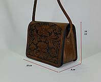 """Женская коричневая сумочка ручной работы с тисненым рисунком  в стилет """"Шеридан"""""""