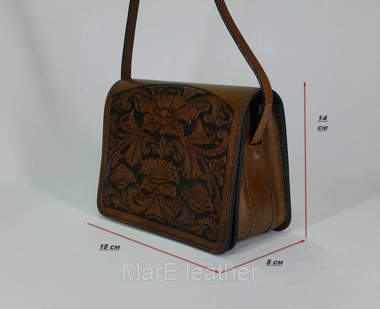 ac05c159fa43 Женская коричневая сумочка ручной работы с тисненым рисунком в стилет