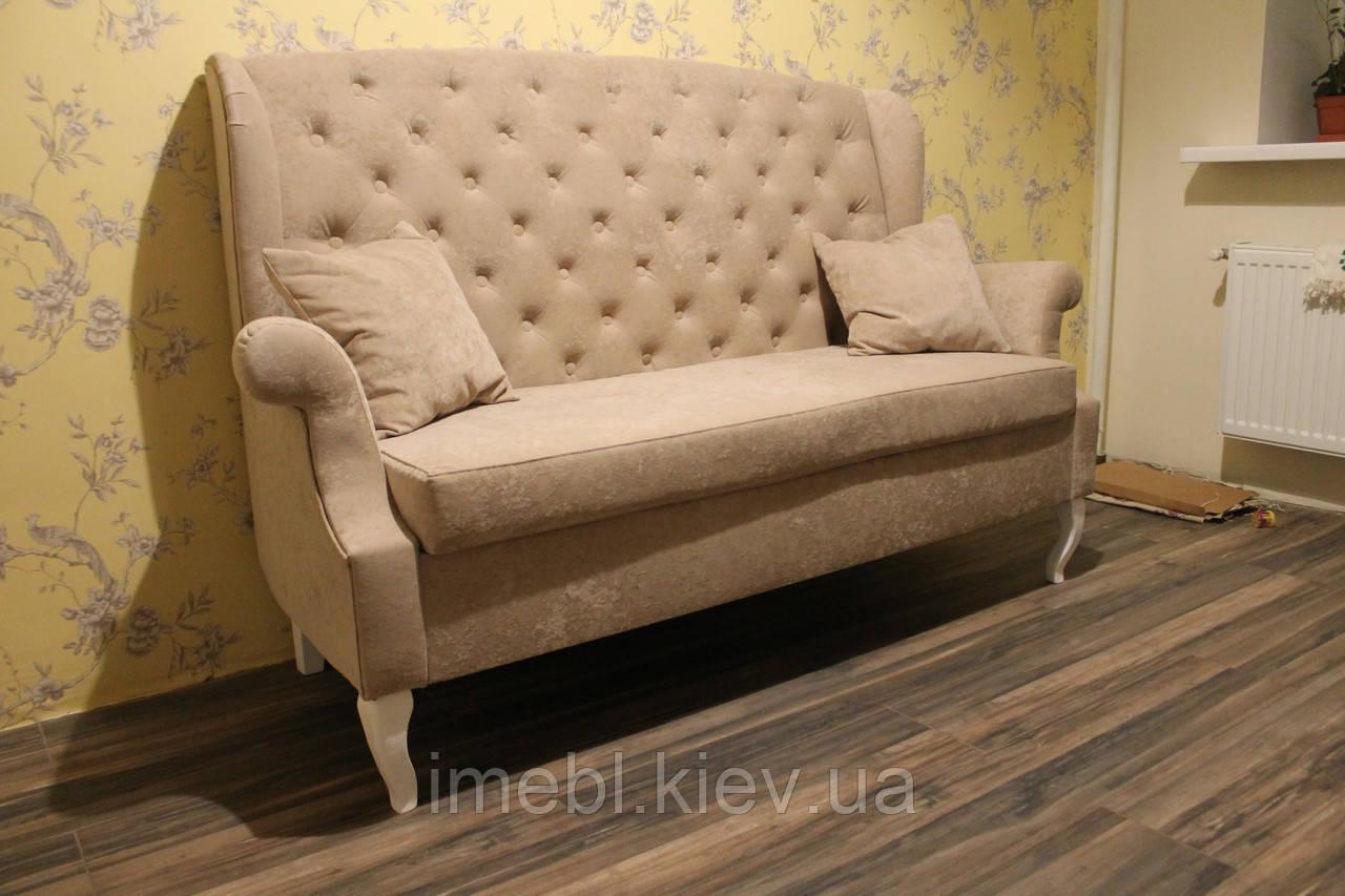Кухонный диванчик с деревянными ножками в стиле Прованс (Светло-коричневый)