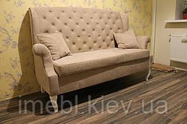 Кухонний диванчик з дерев'яними ніжками в стилі Прованс (Світло-коричневий)