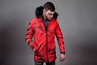 Мужская зимняя куртка Off White ярко-красная топ реплика