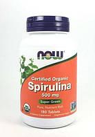 Сертифицированная натуральная спирулина, 500 мг, 180 таблеток, Now Foods