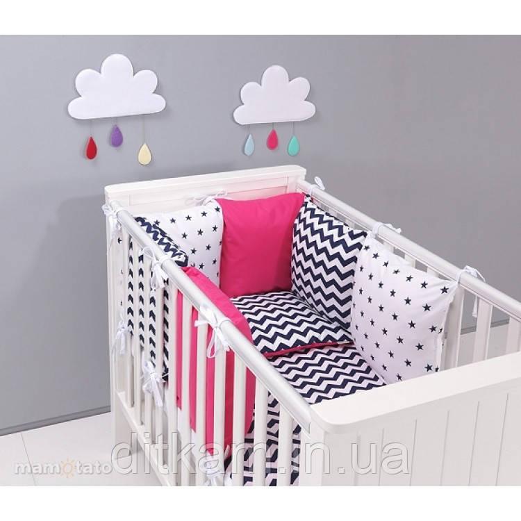 Комплект в кроватку Хатка 9 в 1 Розовый с черным