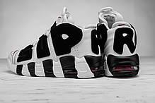 Мужские кроссовки Nike Air More Uptempo белые с черным топ реплика, фото 2