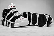 Мужские кроссовки Nike Air More Uptempo белые с черным топ реплика, фото 3