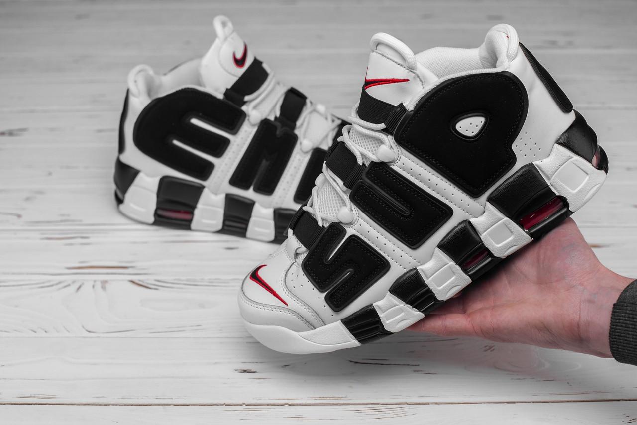 Мужские кроссовки Nike Air More Uptempo белые с черным топ реплика