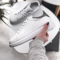Женские кроссовки Adidas Alexander McQueen Sneaker White Silver. Живое фото  (Реплика ААА+) 4f6271a373455