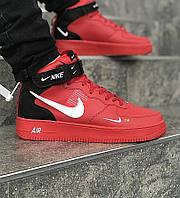 be5ca375 Мужские кроссовки Nike Air Force 1 Hi Red black. Живое фото (Реплика ААА+