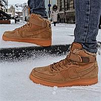 Зимние мужские кроссовки Nike Air Force One Mid Premium Winter с мехом  (Реплика ААА+ 4af8cdd7bd3